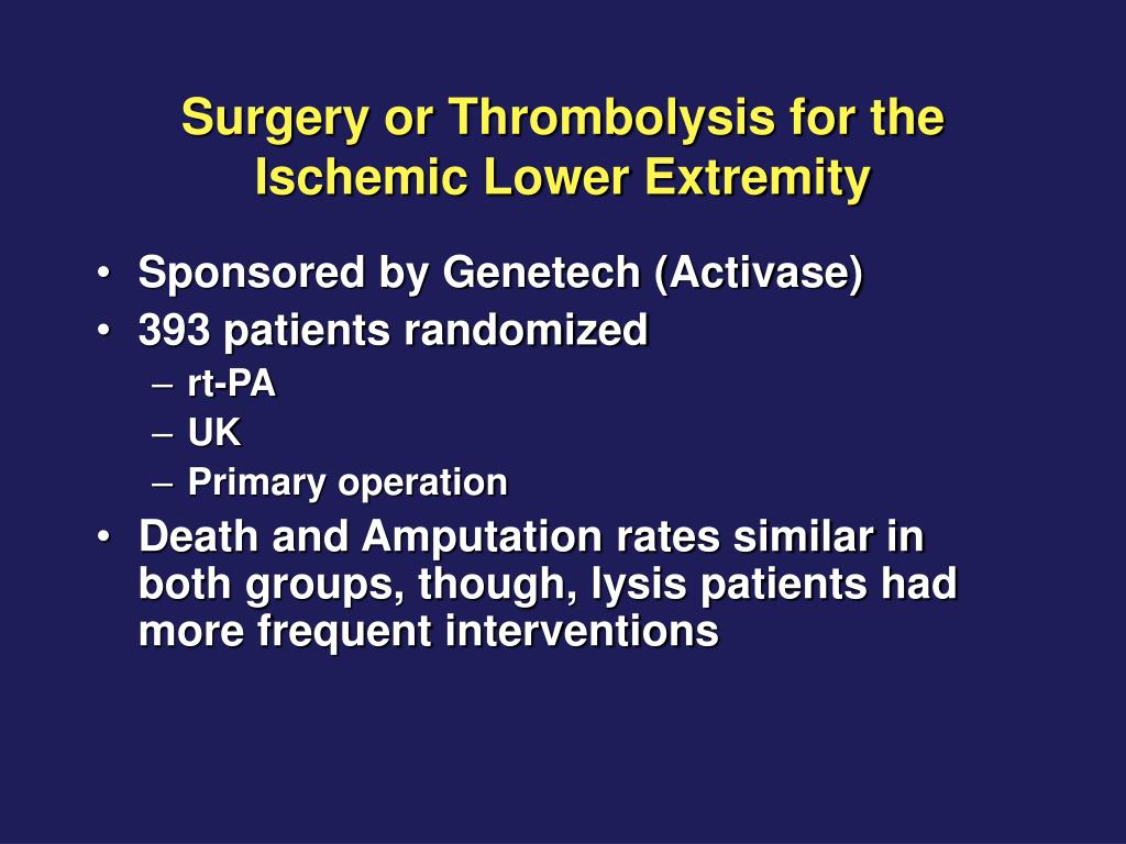 Surgery or Thrombolysis for the Ischemic Lower Extremity