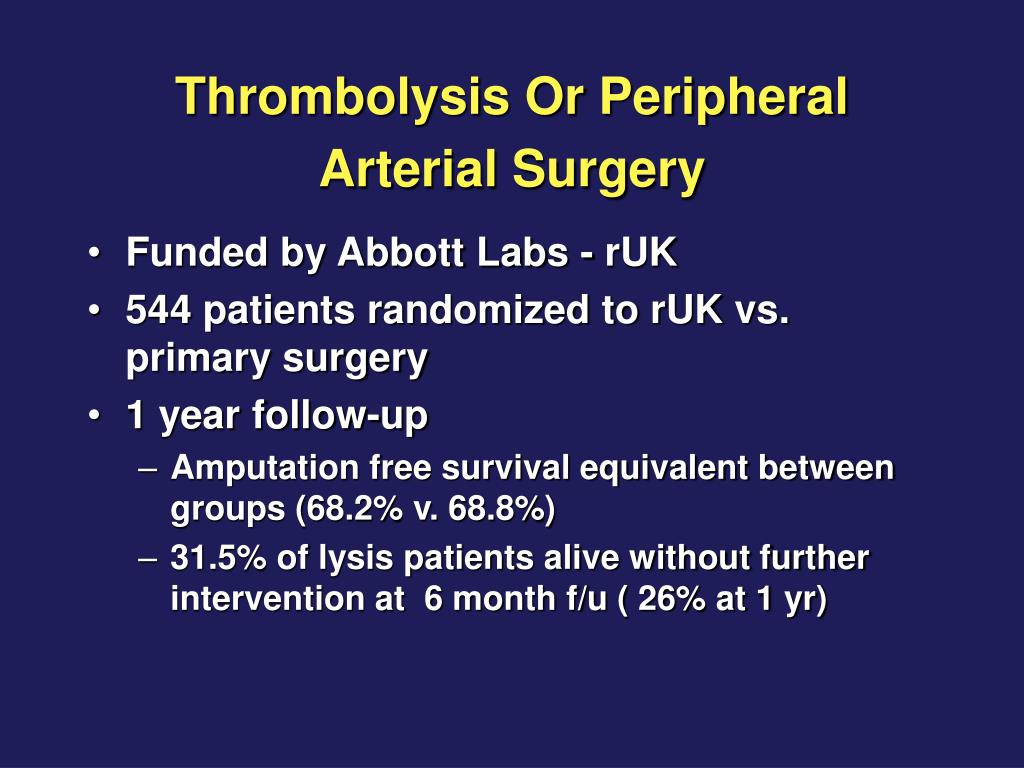 Thrombolysis Or Peripheral Arterial Surgery