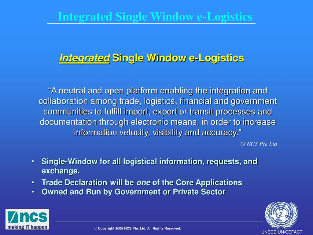 Integrated Single Window e-Logistics