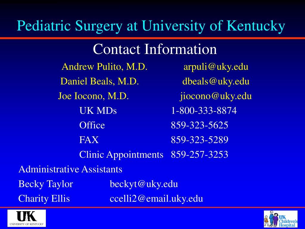 Pediatric Surgery at University of Kentucky