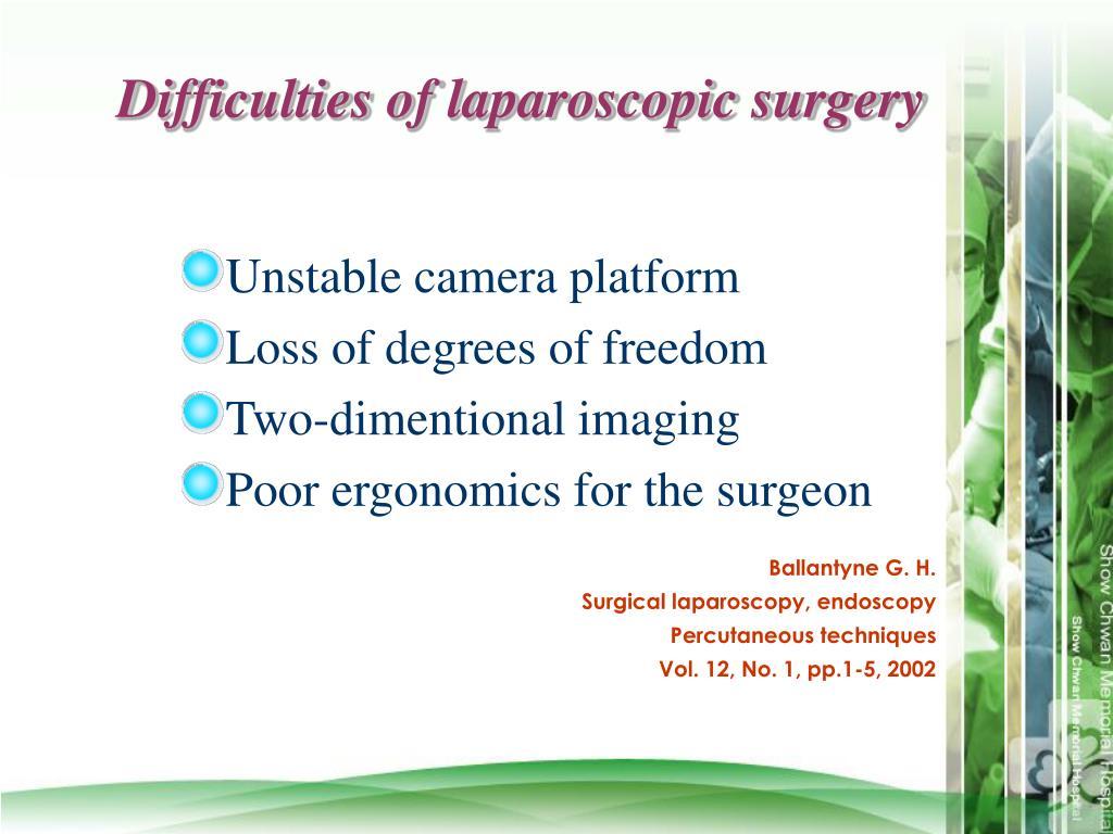 Difficulties of laparoscopic surgery