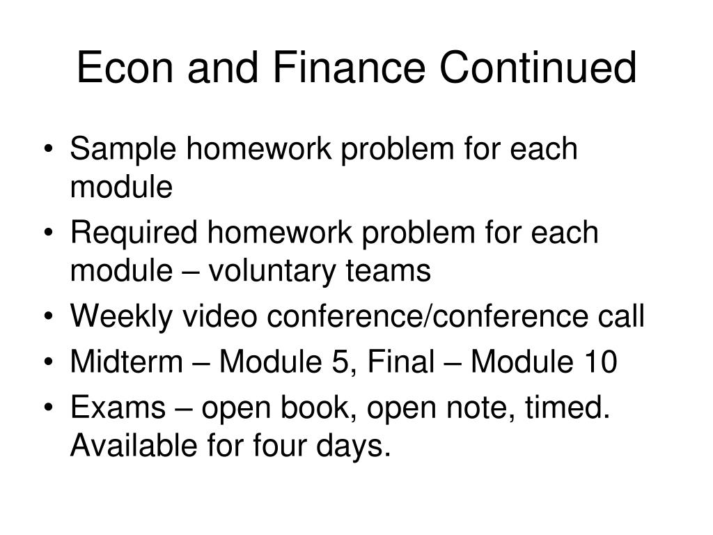Econ and Finance Continued