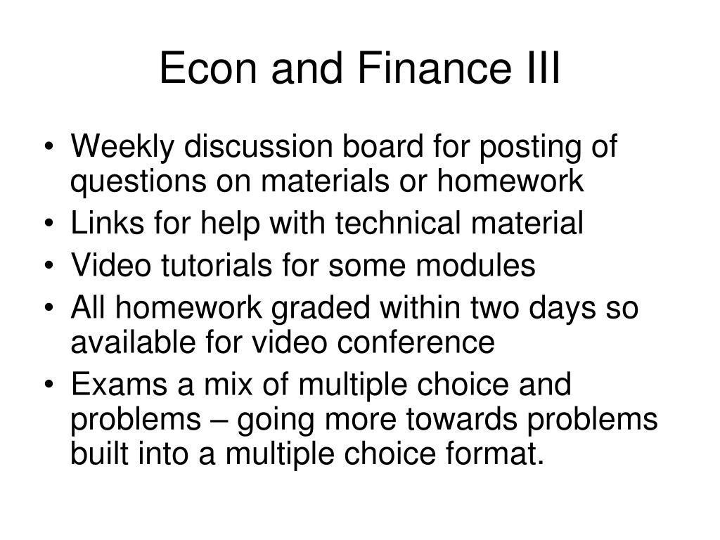 Econ and Finance III