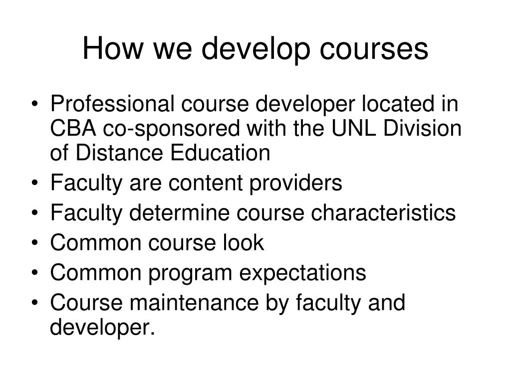 How we develop courses