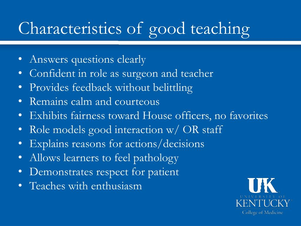 Characteristics of good teaching