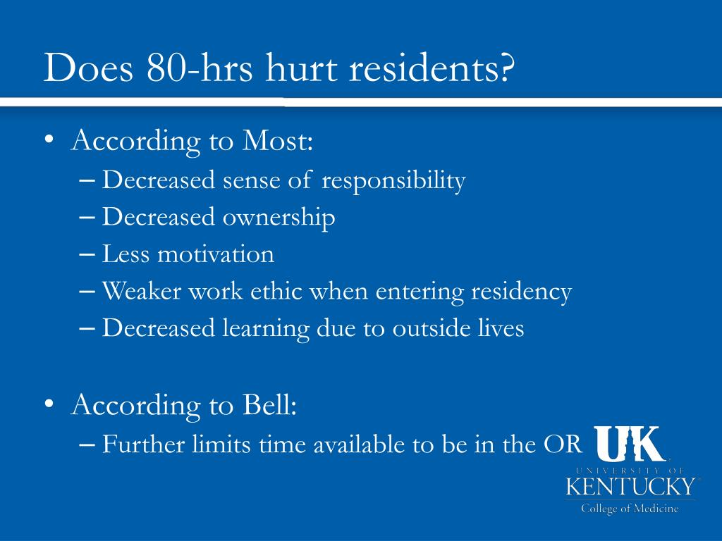 Does 80-hrs hurt residents?