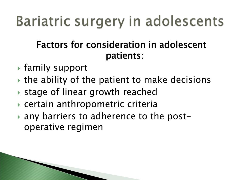 Factors for consideration in adolescent patients: