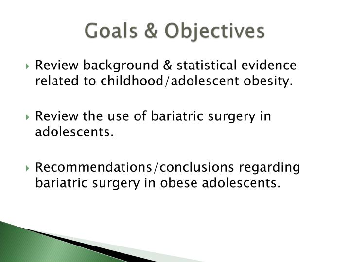 Review background & statistical evidence related to childhood/adolescent obesity.