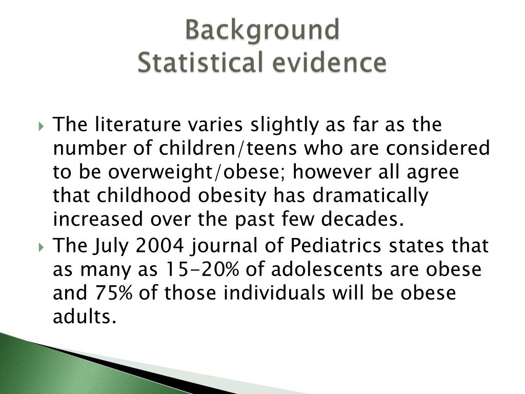 The literature varies slightly as far as the number of children/teens who are considered to be overweight/obese; however all agree that childhood obesity has dramatically increased over the past few decades.