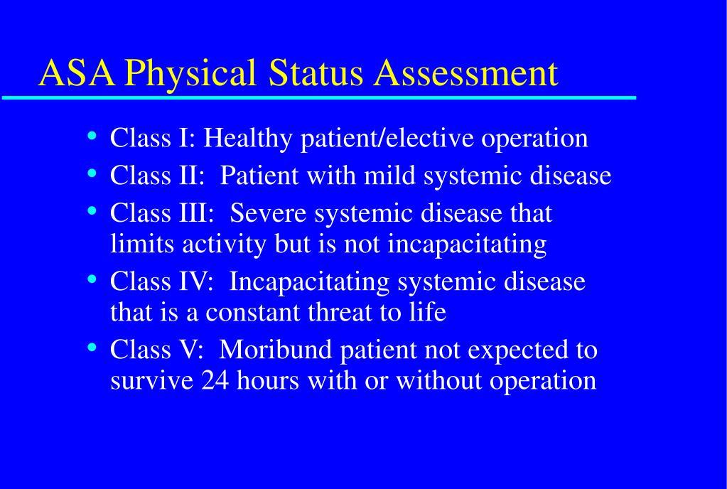 ASA Physical Status Assessment