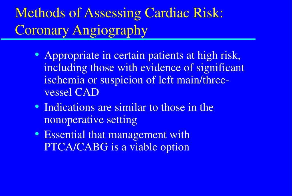Methods of Assessing Cardiac Risk: