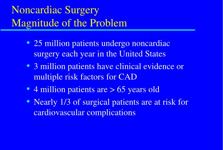 Noncardiac surgery magnitude of the problem