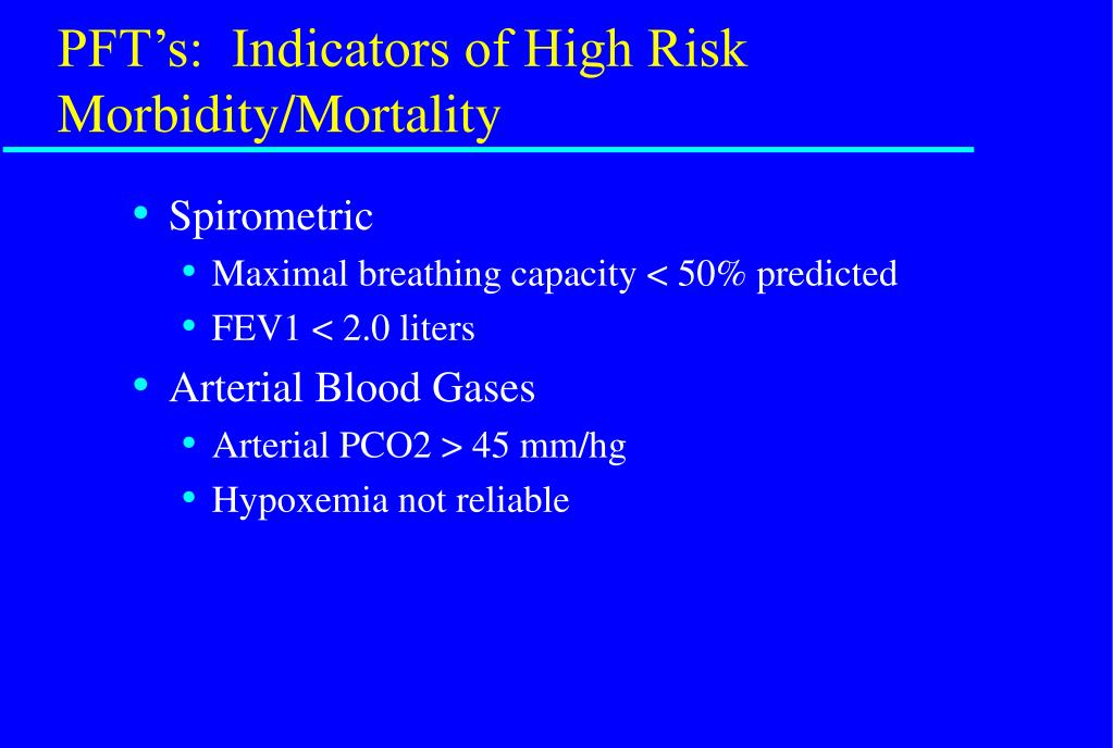 PFT's:  Indicators of High Risk Morbidity/Mortality