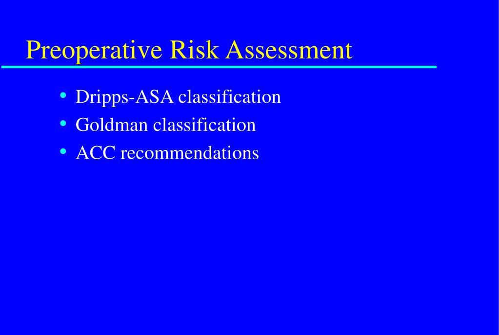 Preoperative Risk Assessment