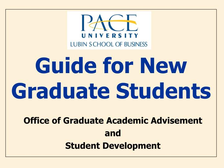 Guide for new graduate students