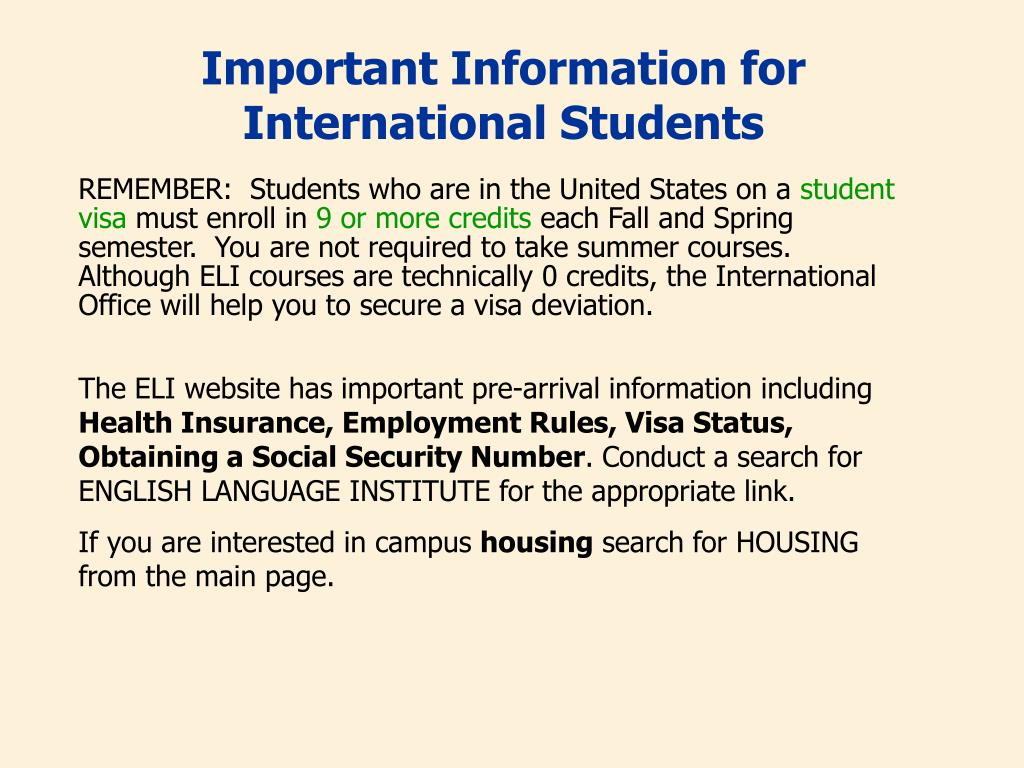Important Information for International Students