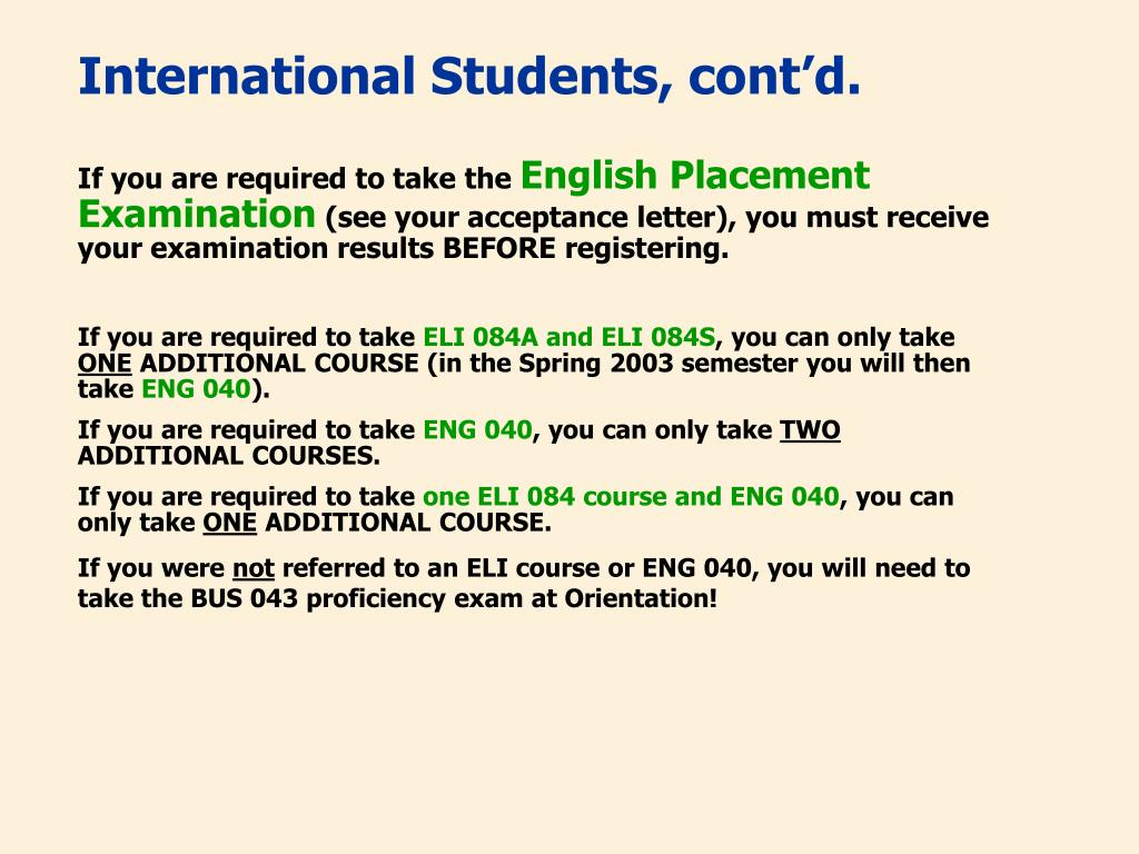 International Students, cont'd.