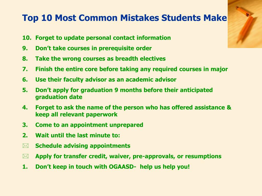 Top 10 Most Common Mistakes Students Make