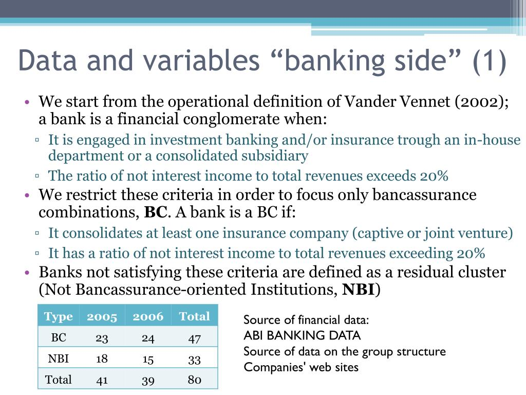 """Data and variables """"banking side"""" (1)"""