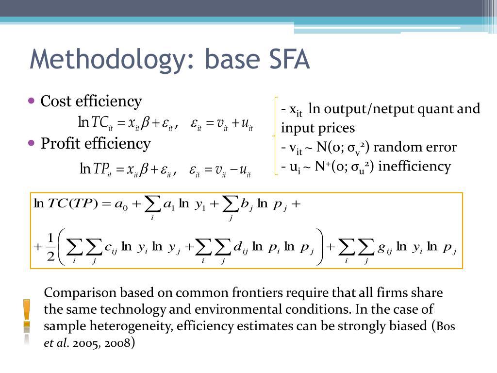 Methodology: base SFA