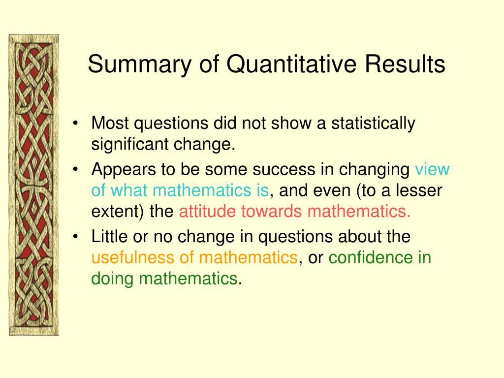 Summary of Quantitative Results