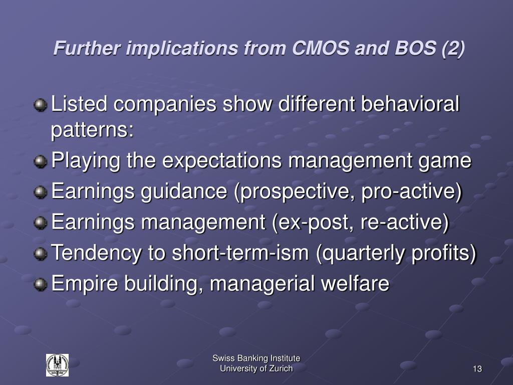 Further implications from CMOS and BOS (2)