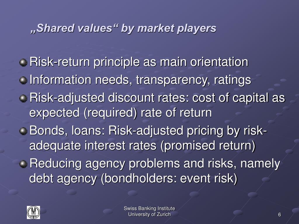 """Shared values"" by market players"