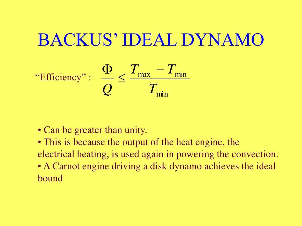 BACKUS' IDEAL DYNAMO