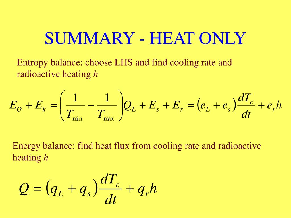 SUMMARY - HEAT ONLY
