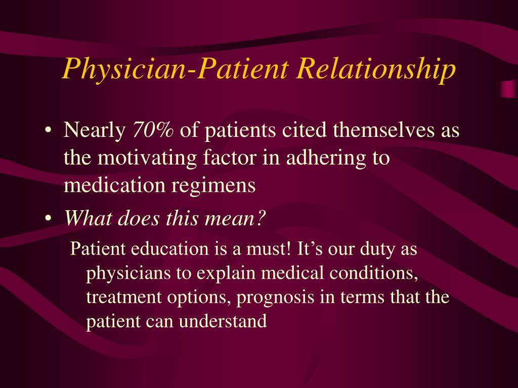 physician patient relationship and medication compliance aids