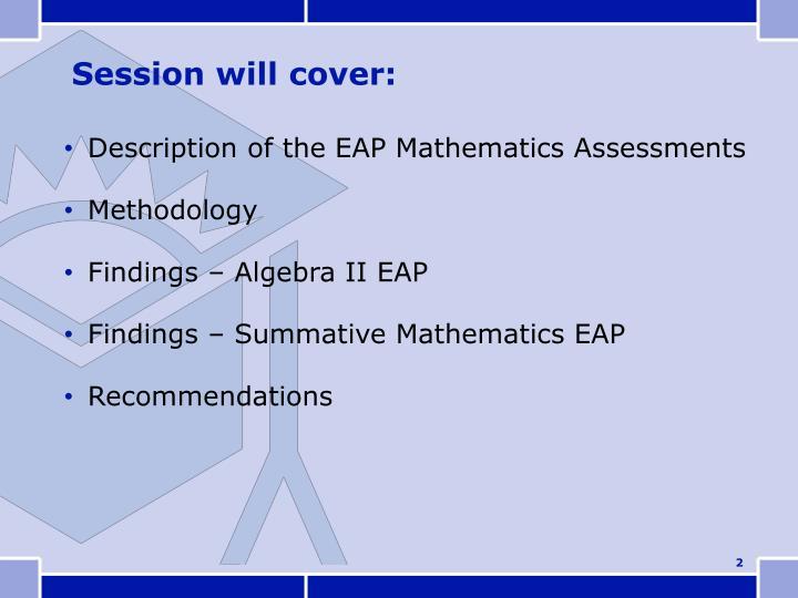 Description of the EAP Mathematics Assessments