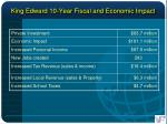king edward 10 year fiscal and economic impact
