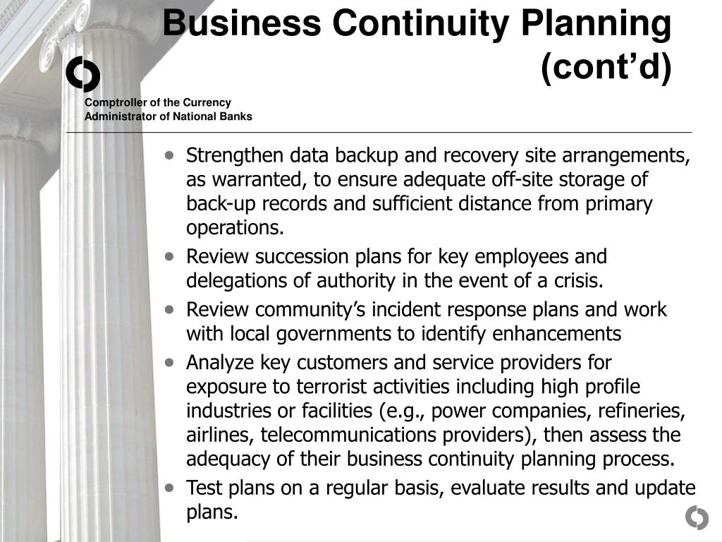 Business Continuity Planning (cont'd)