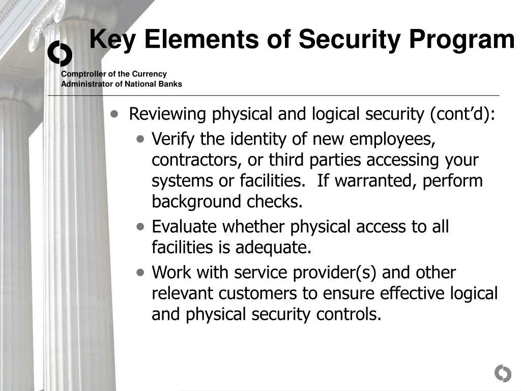 Key Elements of Security Program