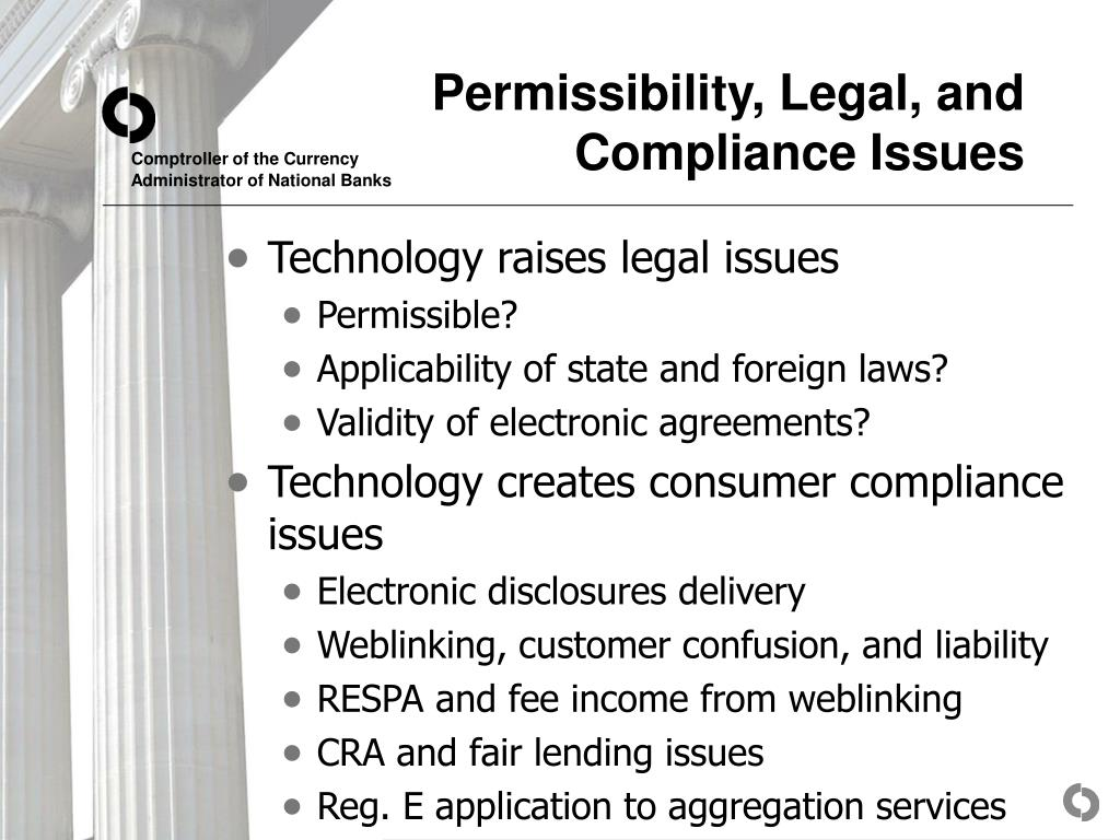 Permissibility, Legal, and Compliance Issues