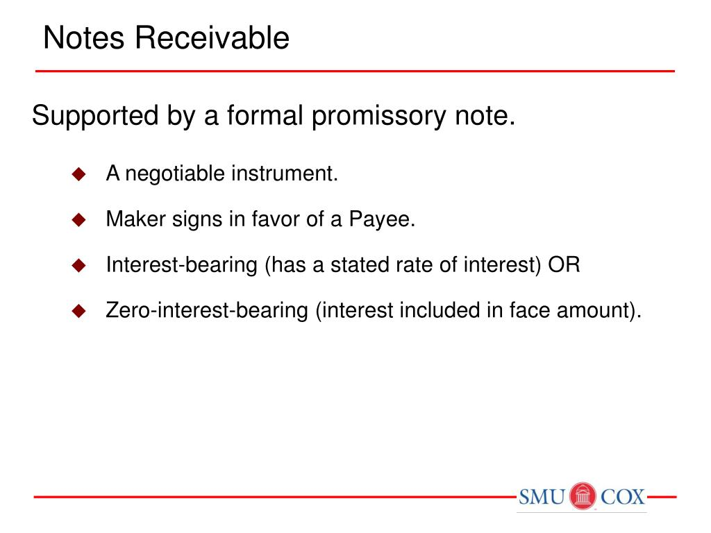 notes receivable Interest in the equipment, fixtures, inventory and accounts receivable of the business known as ____ borrower agrees that until the principal and interest owed under this promissory note are paid in full until this note shall be fully paid and waive demand.
