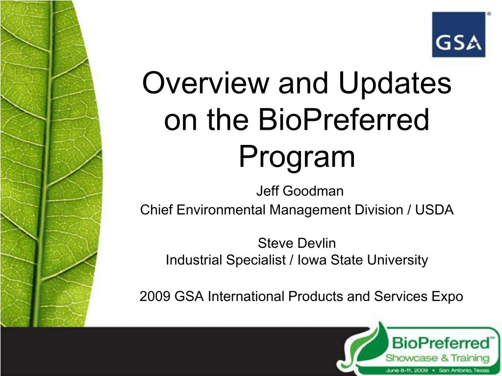 Overview and Updates on the BioPreferred