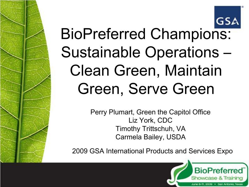 BioPreferred Champions: