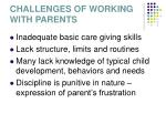 challenges of working with parents16