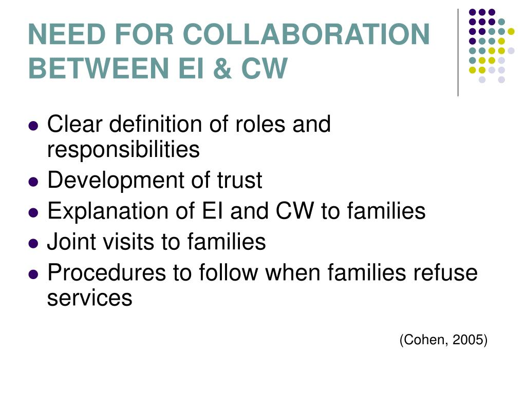 NEED FOR COLLABORATION BETWEEN EI & CW