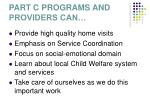part c programs and providers can