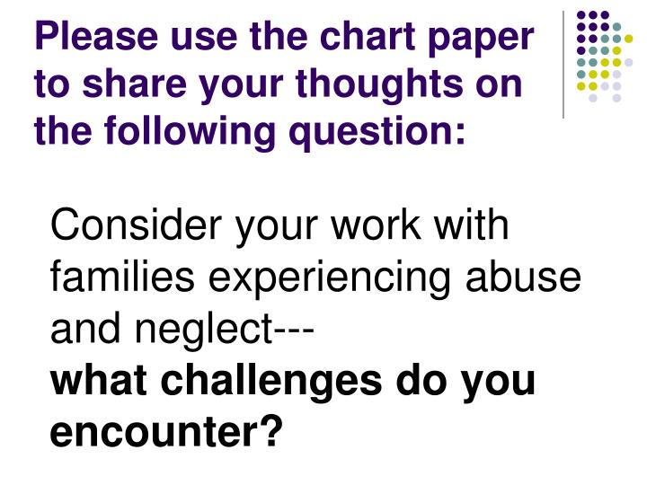 Please use the chart paper to share your thoughts on the following question