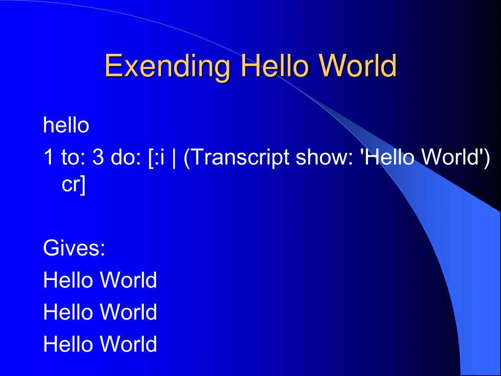 Exending Hello World