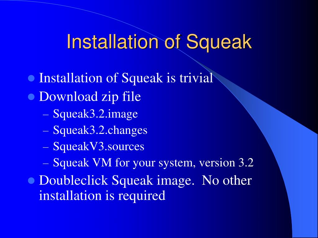 Installation of Squeak