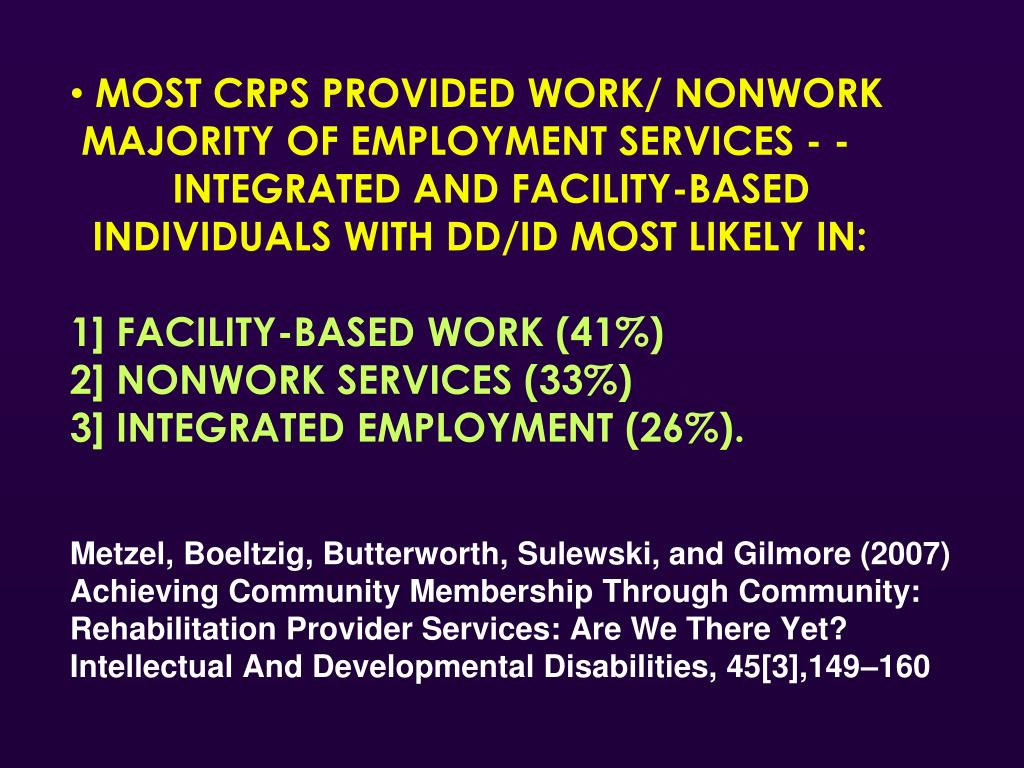 MOST CRPS PROVIDED WORK/ NONWORK