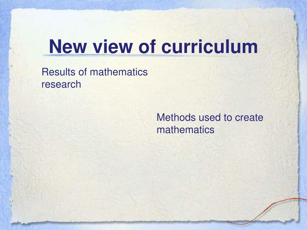 New view of curriculum