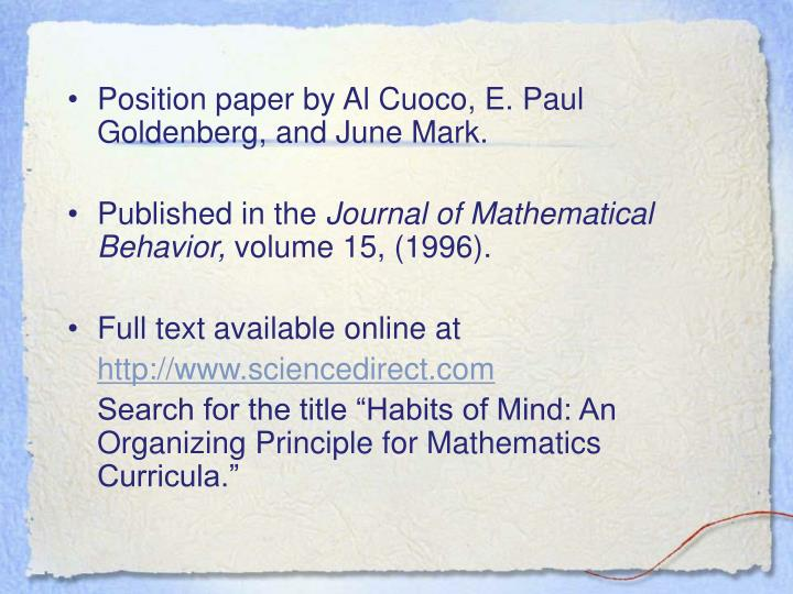 •	Position paper by Al Cuoco, E. Paul Goldenberg, and June Mark.
