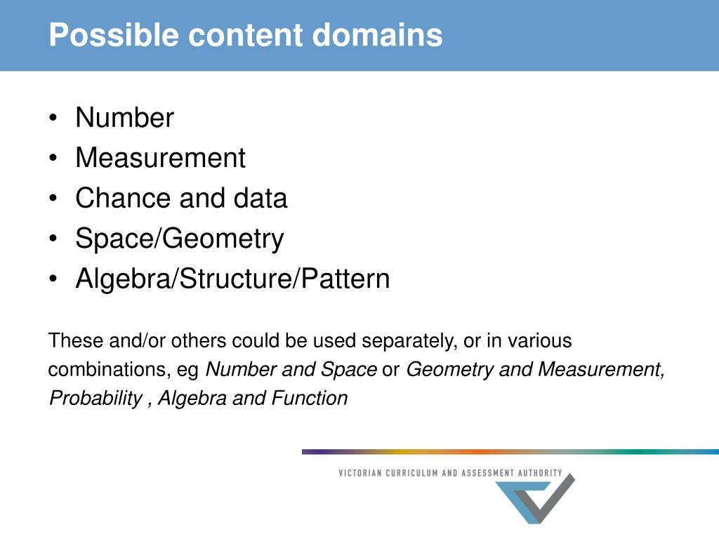 Possible content domains