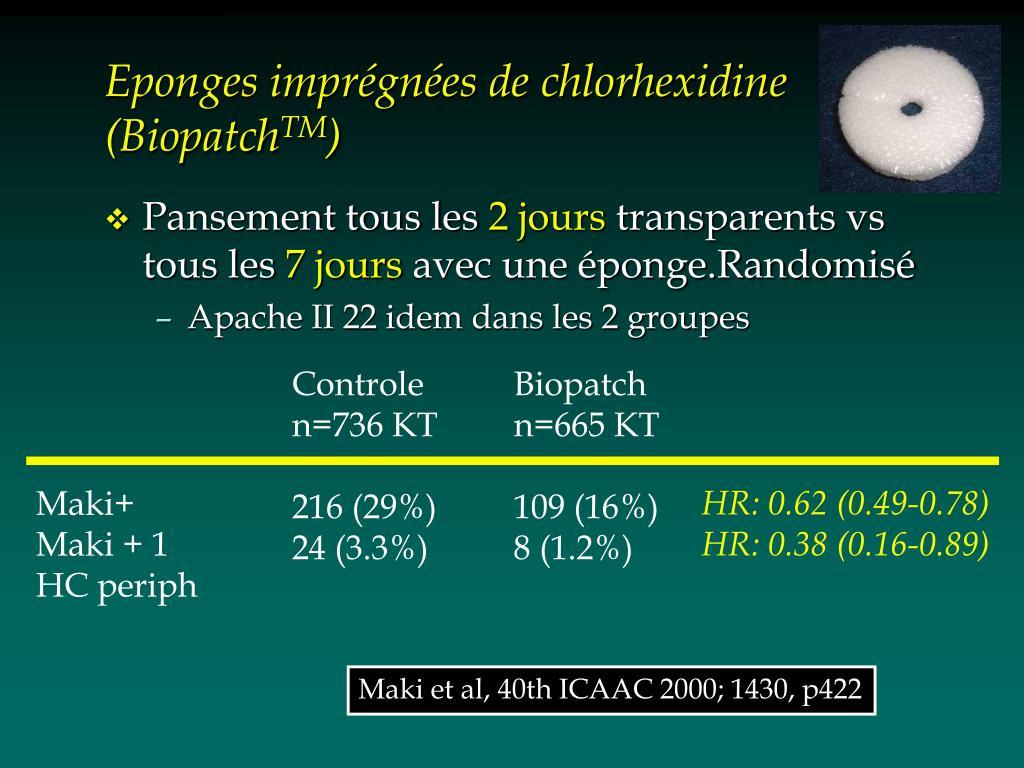Eponges imprégnées de chlorhexidine (Biopatch