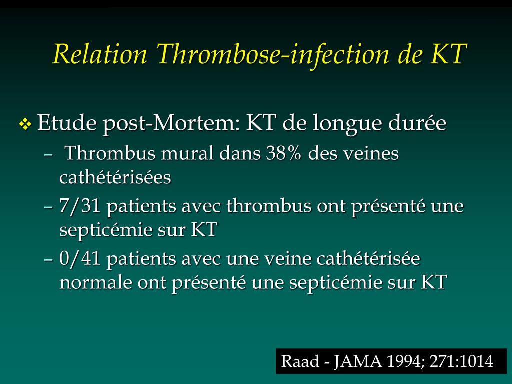 Relation Thrombose-infection de KT